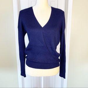 Elodie Navy Wrap Sweater Size M